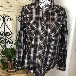Wrangler pearl snap plaid men's shirt